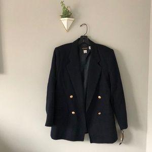 NTW Navy Wool Double-Breasted Blazer